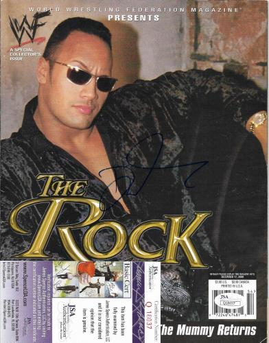 The Rock Dwayne Johnson Wrestling Legend Signed Autographed Magazine Jsa Coa