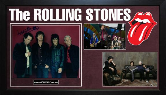 The Rolling Stones Keith Richards Ron Wood Watts Signed Custom Display Photo AFT