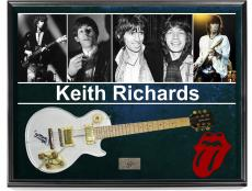 The Rolling Stones Keith Richards Signed Clear Acrylic Guitar & AFTAL + Display