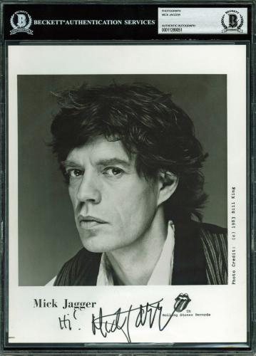 The Rolling Stones Mick Jagger Signed 8x10 B&W Promo Photo BAS Slabbed