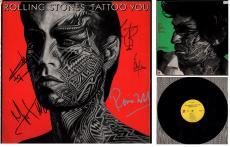 The Rolling Stones Signed - Autographed Tattoo You LP Record Album Cover by ALL 5 - Mick Jagger, Keith Richards, Charlie Watts, Bill Wyman, and Ronnie Wood
