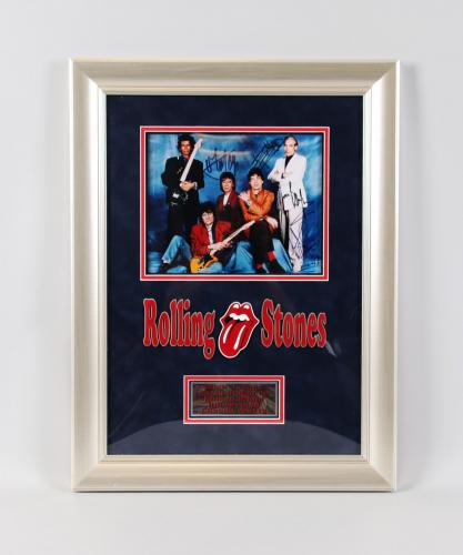 The Rolling Stones Signed Photo – Bill Wyman, Ronnie Wood, Mick Jagger, Keith Richards, and Charlie Watts. COA PSA/DNA