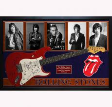 The Rolling Stones x5 Autographed Guitar Mick Jagger Plus Custom Shadowbox Displ