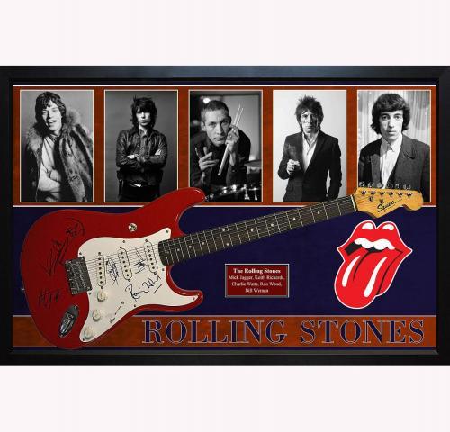 The Rolling Stones x5 Autographed Guitar Mick Jagger Plus Custom Shadowbox Displ