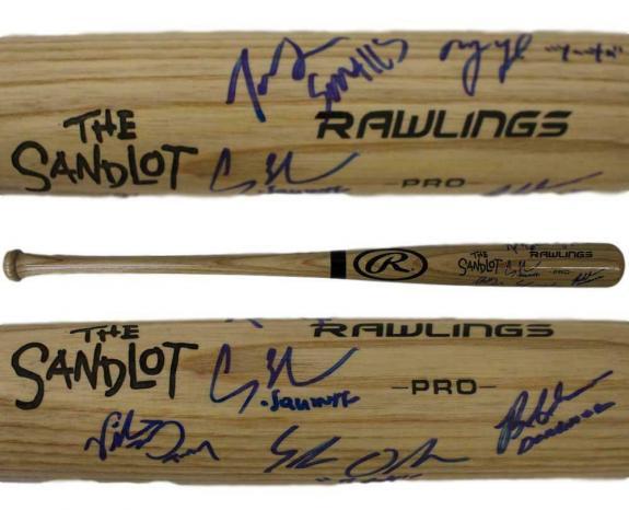 The Sandlot Autographed Blonde Rawlings Baseball Bat 6 Sigs Smalls BAS 25627