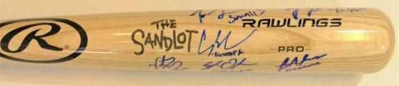 The Sandlot Autographed Blonde Rawlings Pro Baseball Bat - Beckett Auth *Blue