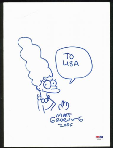 The Simpsons Matt Groening 2005 Signed 9x12.25 Marge Simpson Sketch PSA #AD59638