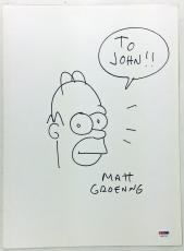 THE SIMPSONS MATT GROENING HAND DRAWN SIGNED 11x14 HOMER SKETCH PSA/DNA #X61770