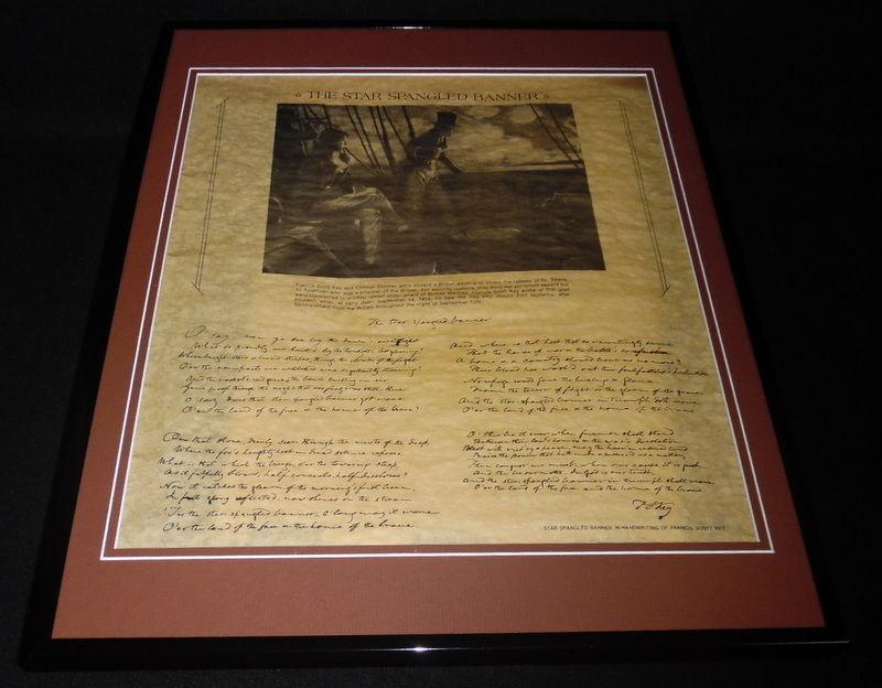 The Star Spangled Banner Lyrics Framed 16x20 Parchment Paper ...