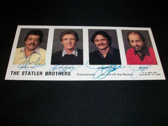 The Statler Brothers Band Signed Auto Vintage 9x4 Photo  Reid Balsley Fortune  C