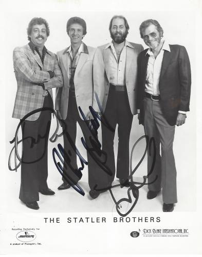 "THE STATLER BROTHERS"" Signed by HAROLD REID, DON REID, and PHIL BALSLEY - Hits Include ""FLOWERS on the WALL"", ""THE CLASS of '57"", and ""I'LL GO to my GRAVE LOVING YOU"" Signed by all Three 8x10 B/W Photo"