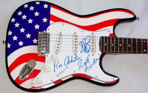The Stooges Autographed Signed USA Flag Guitar & Proof PSA/DNA A AFTAL