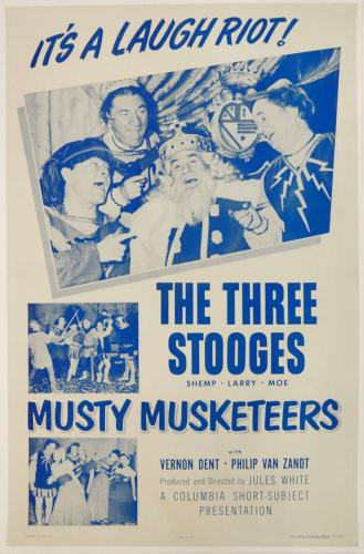 The Three Stooges in Musty Musketeers. 1954. Linen Backed