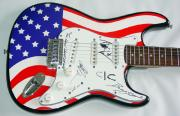 The Union Underground Autographed Signed USA Flag Guitar PSA AFT AFTAL