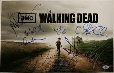 THE WALKING DEAD Cast (10) Signed 11x17 Photo Reedus Lincoln Beckett BAS COA (A)