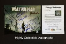 The Walking Dead Cast 14 Signed 11x14 Photo Psa Coa Norman Reedus Andrew Lincoln