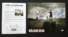 The Walking Dead Cast 9 Signed 11x14 Photo Psa Coa Norman Reedus Andrew Lincoln