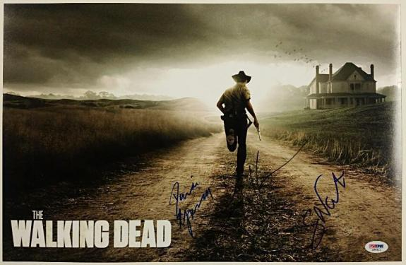 THE WALKING DEAD Cast Signed 11x17 Photo 3 Autos Nicotero + Holden + Gurira PSA