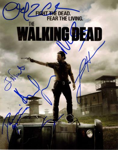 The Walking Dead Cast X7 Autographed 11x14 Poster Photo AFTAL UACC RD COA