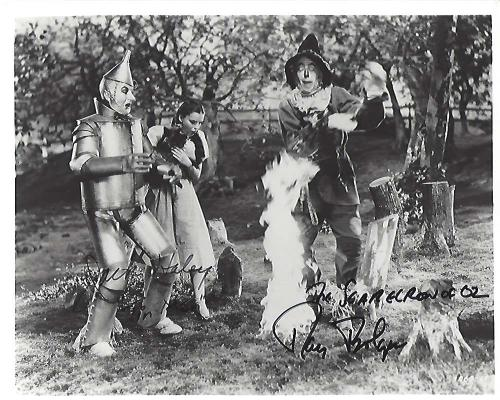 "THE WIZARD OF OZ"" Signed by RAY BOLGER as HUNK/SCARECROW and JACK HALEY as TIN WOODMAN/TIN MAN (RAY Passed Away 1987 and JACK 1979) 10x8 B/W Photo"