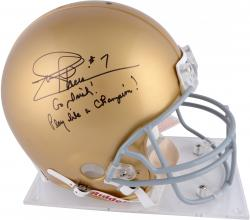 Joe Theismann Notre Dame Fighting Irish Autographed Riddell Pro-Line Authentic Helmet with Multiple Inscriptions - Mounted Memories