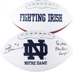 Joe Theismann Notre Dame Fighting Irish Autographed White Panel Football with Multiple Inscriptions - Mounted Memories