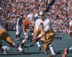 """Joe Theismann Notre Dame Fighting Irish Autographed 8"""" x 10"""" Photograph with Play Like A Champion"""