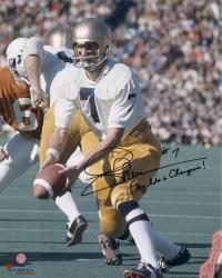 "Joe Theismann Notre Dame Fighting Irish Autographed 16"" x 20"" Photograph with Play Like  A Champion Inscription"