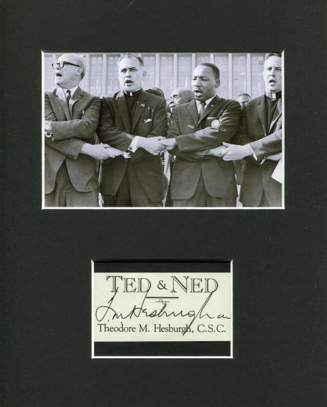 Theodore Hesburgh Notre Dame Signed Autograph Photo W/ MLK Martin Luther King Jr