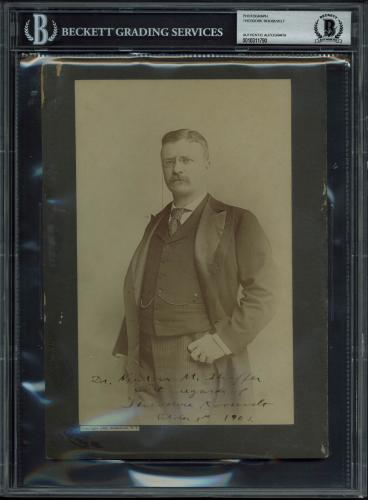 """Theodore Roosevelt """"With regards"""" Signed 5.75x9 Cabinet Photo BAS Slab"""