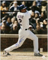 """Ryan Theriot Chicago Cubs Autographed 16"""" x 20"""" Action Swinging Photograph"""