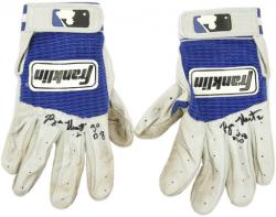 Ryan Theriot Chicago Cubs Autographed 2008 Game Used Batting Gloves-Set of 2 - Mounted Memories