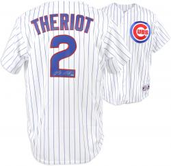 Ryan Theriot Chicago Cubs Autographed White Pinstripe Majestic Replica Jersey - Mounted Memories