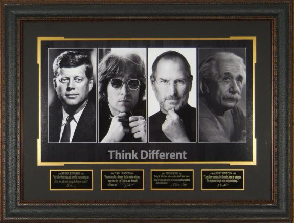 THINK DIFFERENT John F. Kennedy, John Lennon, Steve Jobs, & Albert Einstein Lasor Engraved Display