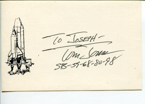Thomas D. Jones NASA Space Astronaut Space STS Signed Autograph