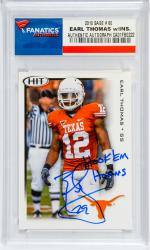 Earl Thomas Texas Longhorns Autographed 2010 Sage #60 Rookie Card with Hook Em Horns Inscription