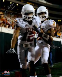 "Earl Thomas Texas Longhorns Autographed 16"" x 20"" Vertical White Uniform Photograph with Hook Em Horns Inscription"