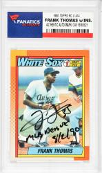 Frank Thomas Chicago White Sox Autographed 1990 Topps #414 Rookie Card with MLB Debut 8/2/90 Inscription