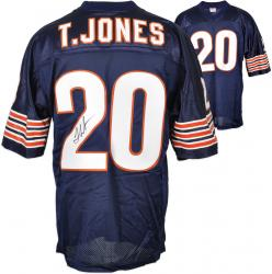 Thomas Jones Autographed Jersey - Custom Dark Blue Mounted Memories