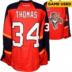 Tim Thomas Florida Panthers Game-Used 2013-14 Set 1 Red Jersey
