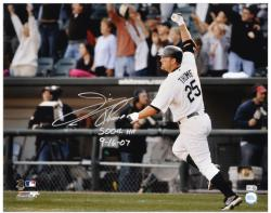 Jim Thome Chicago White Sox 500th HR Autographed 16'' x 20'' Photograph with 500th HR & 9/16/07 Inscriptions - Mounted Memories