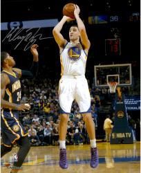 "Klay Thompson Golden State Warriors Autographed 16"" x 20"" White Uniform Shooting Photograph"