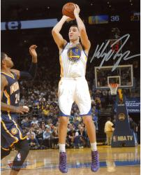 "Klay Thompson Golden State Warriors Autographed 8"" x 10"" White Uniform Shooting Photograph"