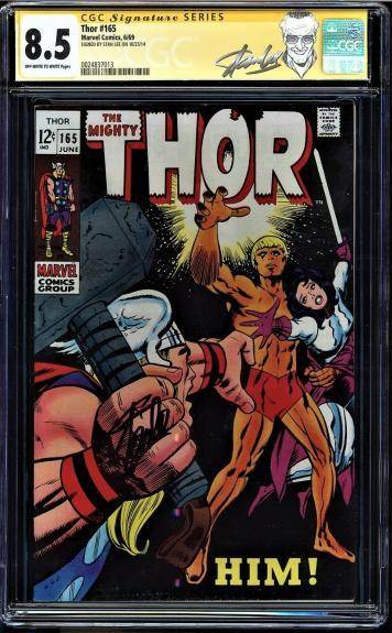 Thor #165 Cgc 8.5 Oww Ss Stan Lee 1st Full App Him (warlock) Cgc #0024837013