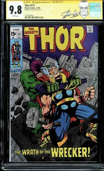 Thor #171 Cgc 9.8 White Ss Stan Lee New Label Single Highest Graded #1227834002