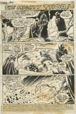 "Thor #200 1972 Page 1 Title Page Comic Art By John Buscema 10"" X 15""."
