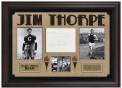 Jim Thorpe Deluxe Framed Autographed Cut with Suede