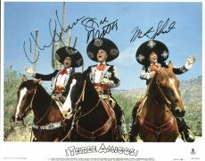Three Amigos Chevy Chase Steve Martin Martin Short Signed 11X14 Lobby Card BAS