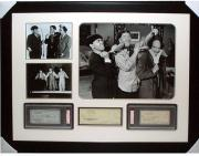 Moe Howard, Shemp Howard, and Larry Fine The Three Stooges Autographed Framed Check Collage
