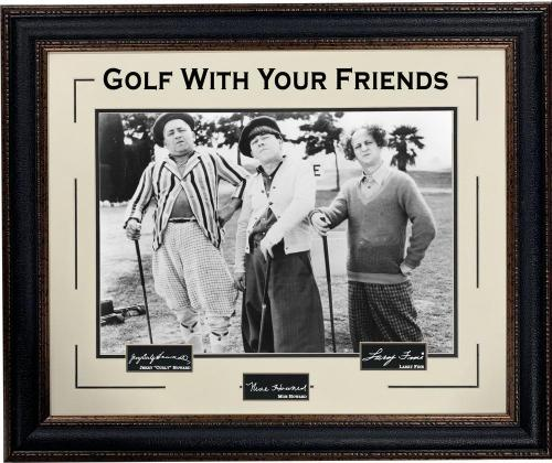 """Three Stooges Photo Framed """"Golf With Your Friends"""" With Laser Signatures"""